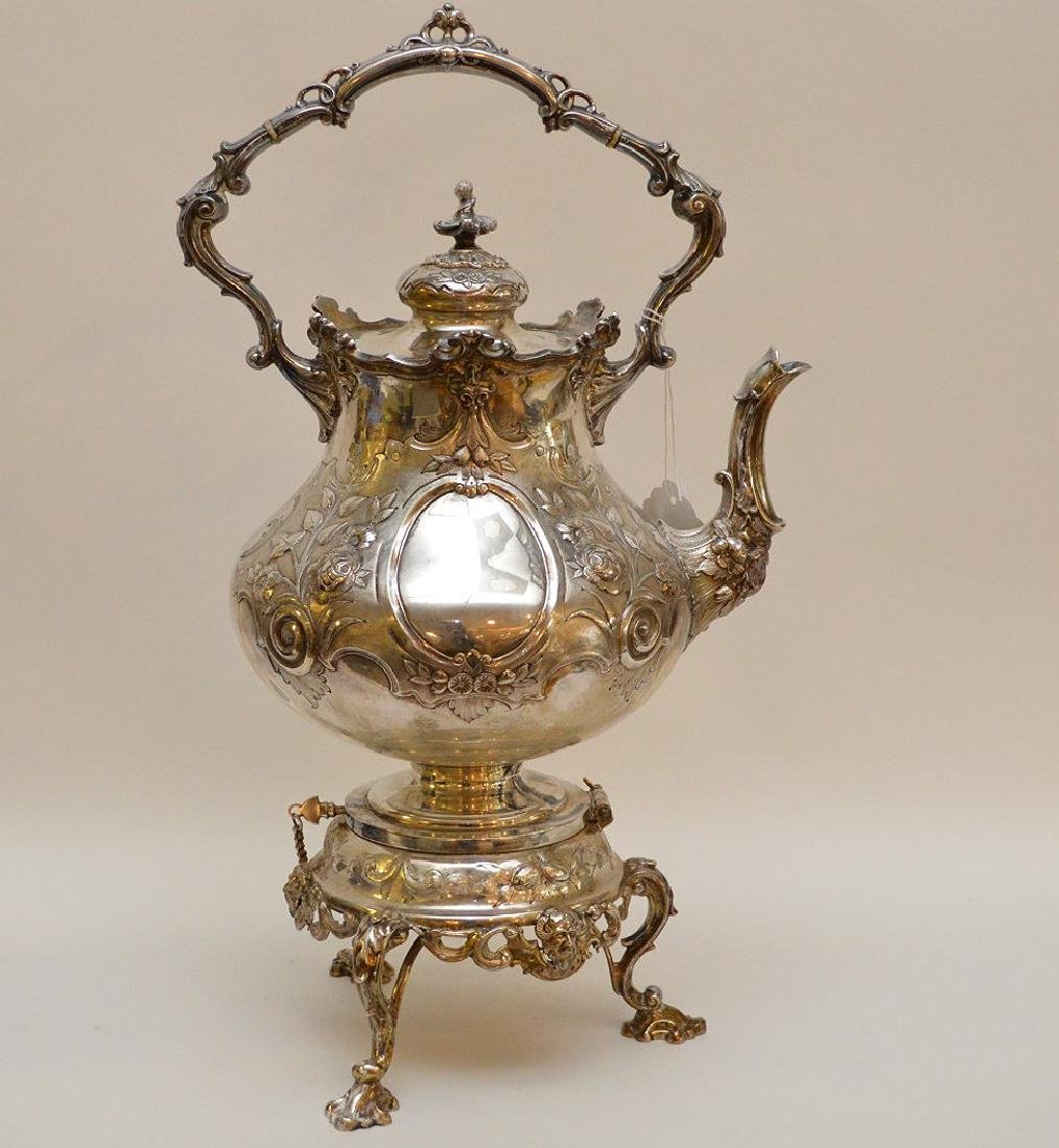 """Silver plate ornate large water/tea urn, 19""""h - 8"""
