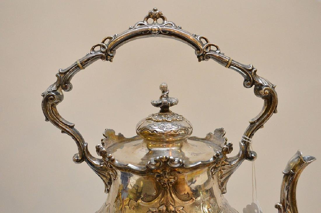 """Silver plate ornate large water/tea urn, 19""""h - 9"""