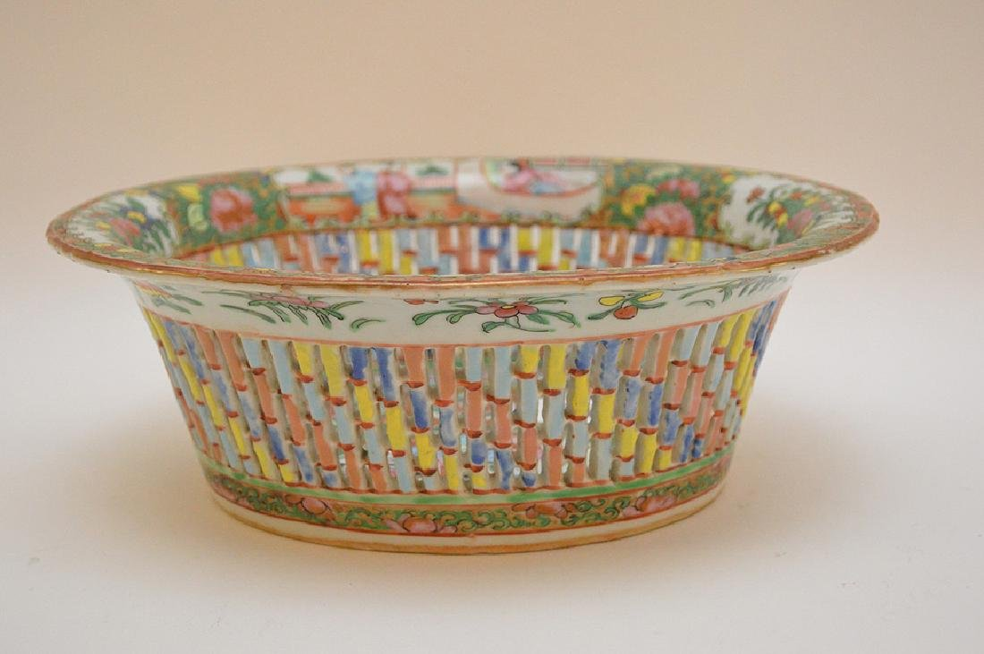 "Rose Medallion reticulated fruit bowl, 3 1/2""h x 9 3/4"""