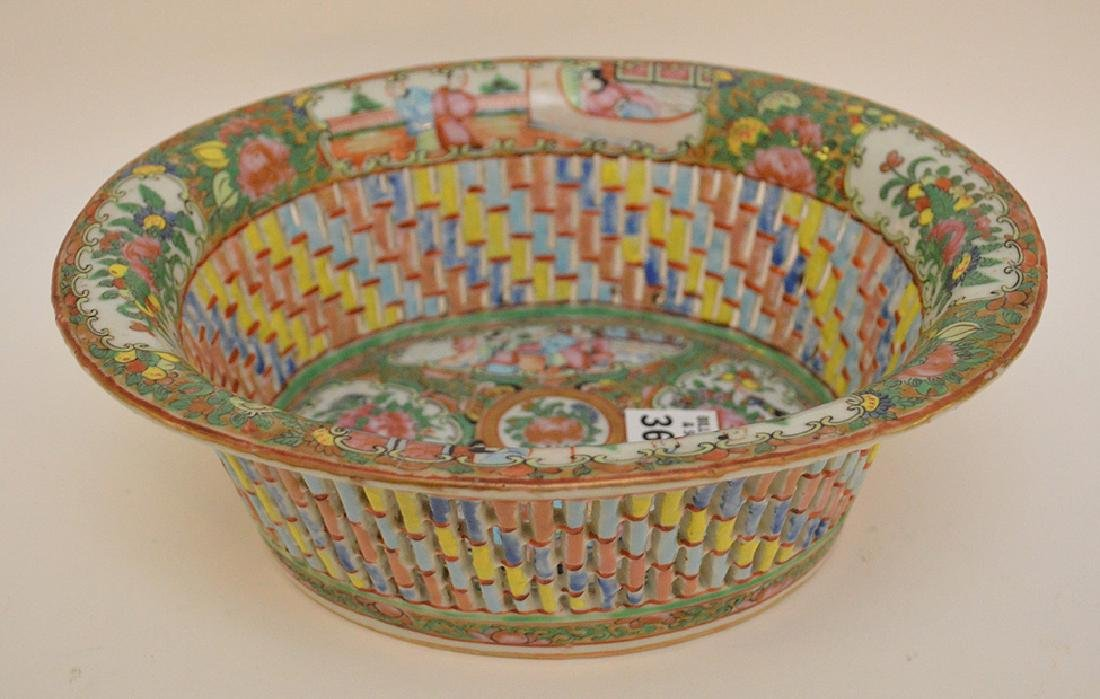 "Rose Medallion reticulated fruit bowl, 3 1/2""h x 9 3/4"" - 2"