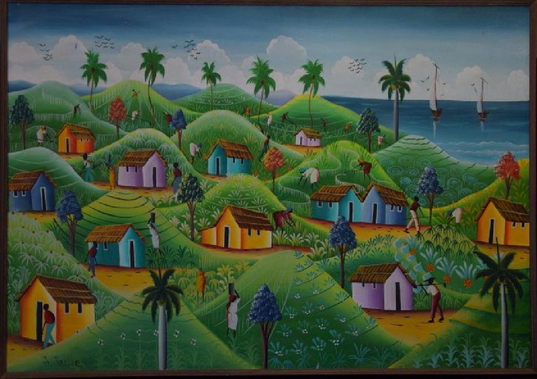 Haitian Landscape Village Scene, oil on canvas