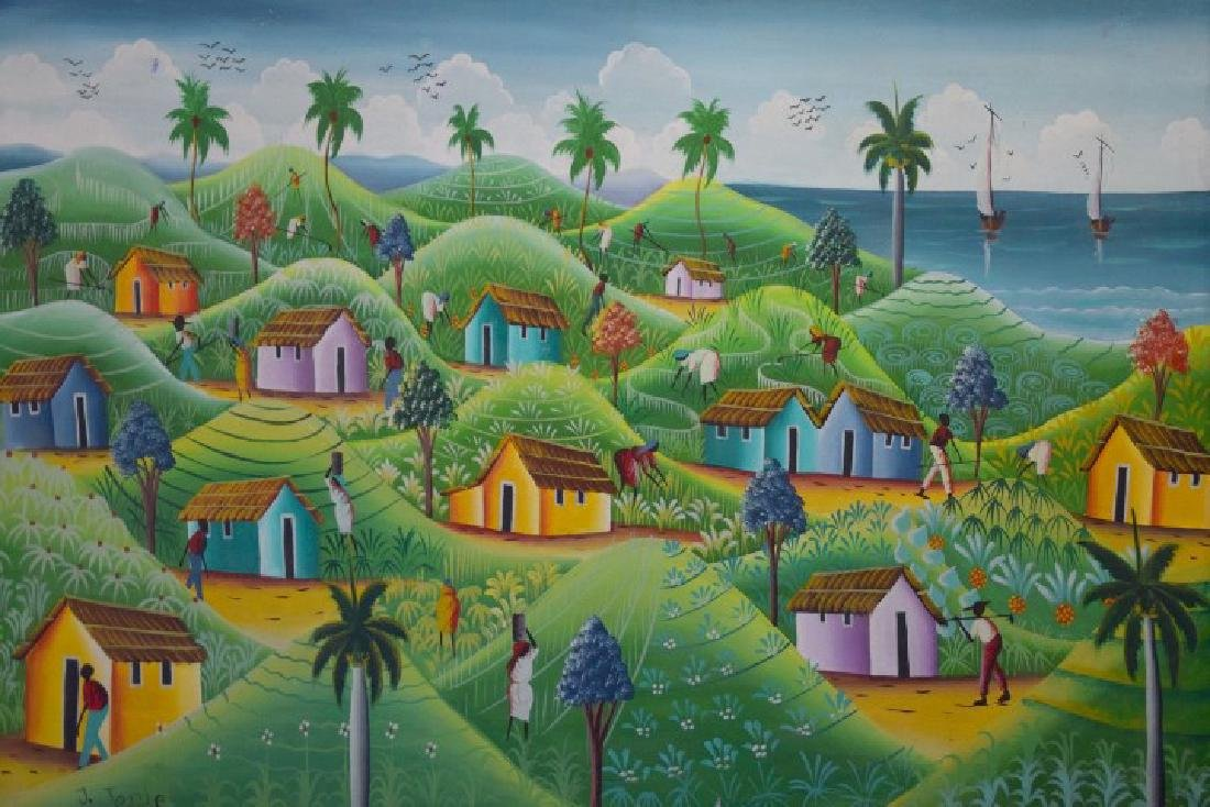 Haitian Landscape Village Scene, oil on canvas - 2