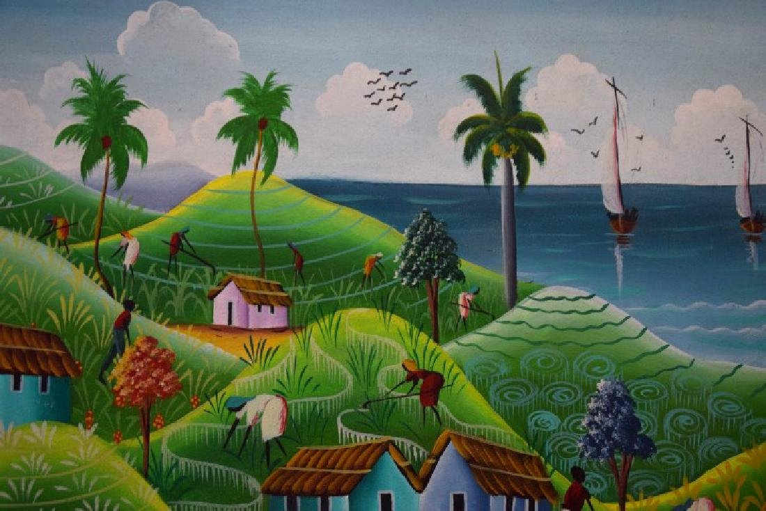 Haitian Landscape Village Scene, oil on canvas - 4