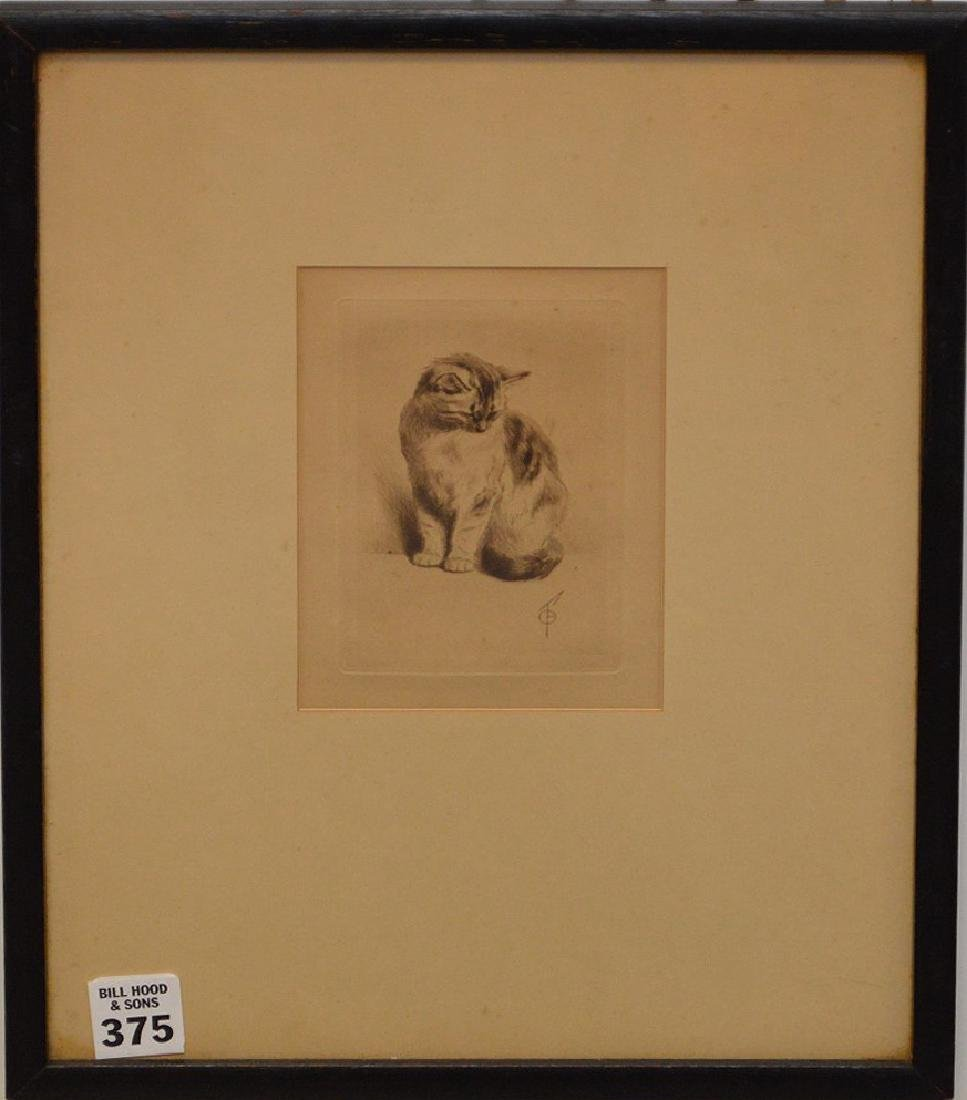 A Fine Turn of the Century Cat Etching with Artist's