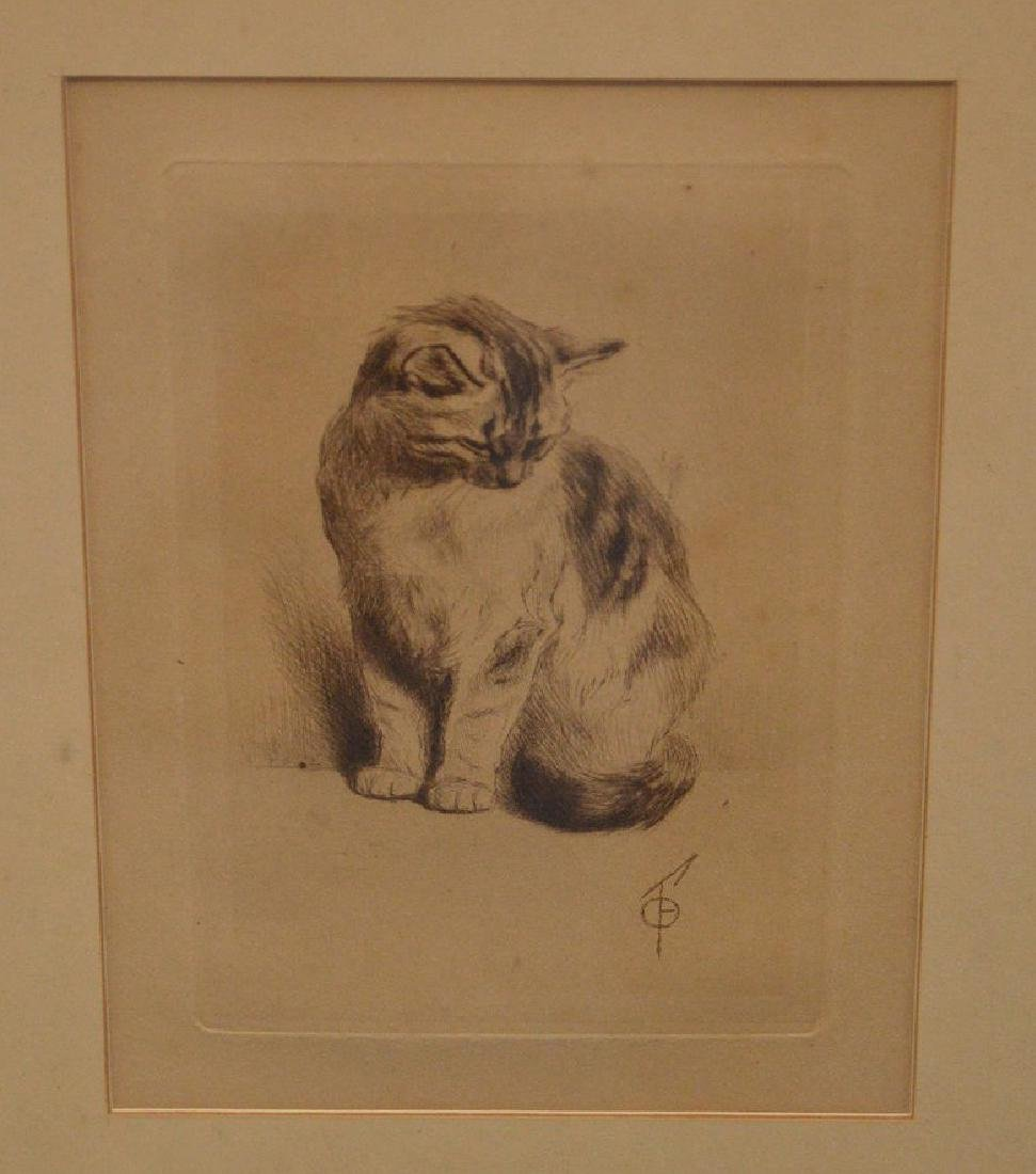 A Fine Turn of the Century Cat Etching with Artist's - 2