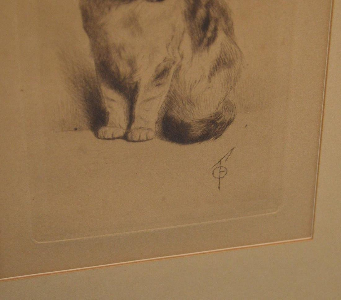 A Fine Turn of the Century Cat Etching with Artist's - 3