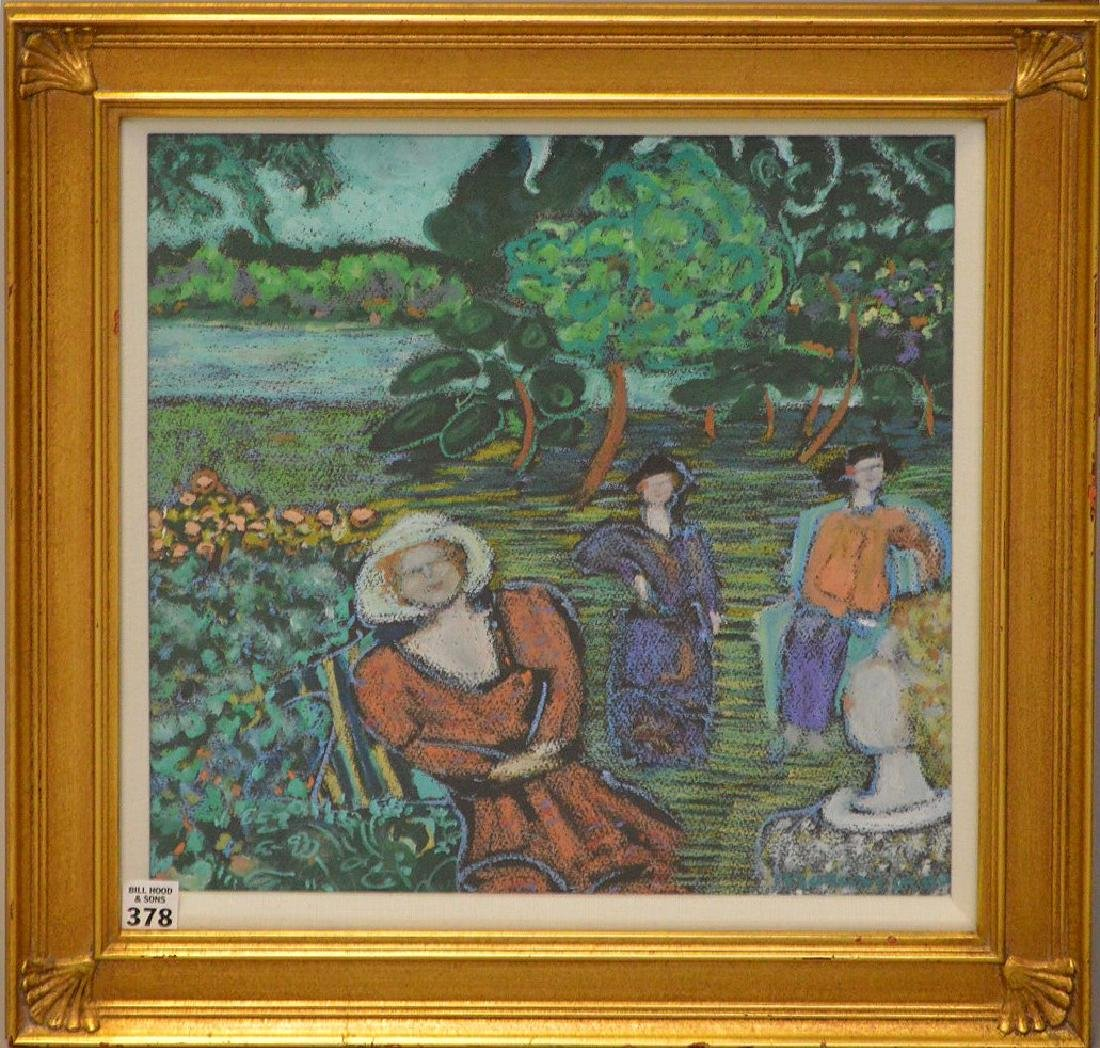 Impressionistic mixed media painting of 3 woman in a