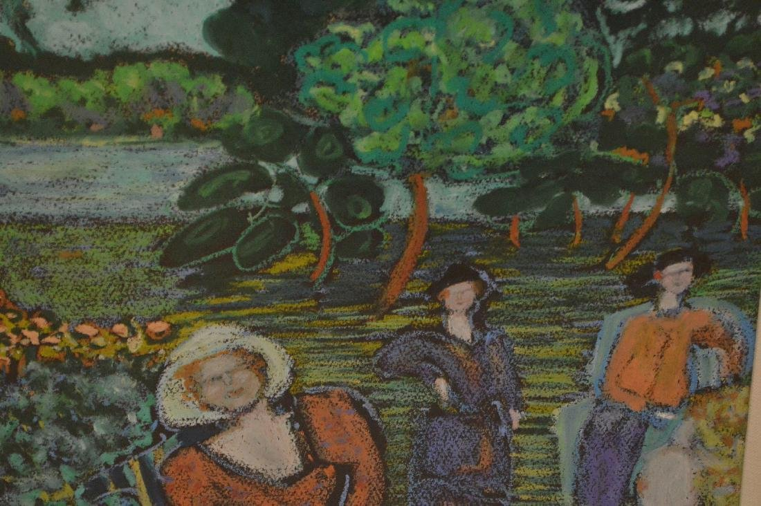 Impressionistic mixed media painting of 3 woman in a - 2