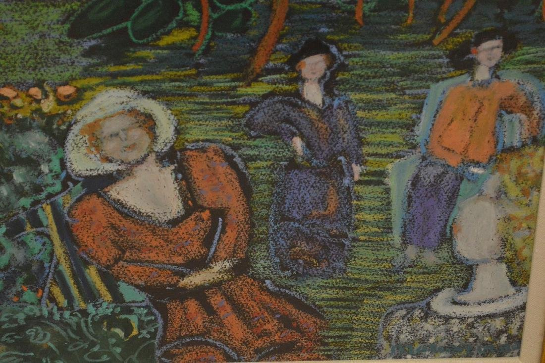 Impressionistic mixed media painting of 3 woman in a - 3