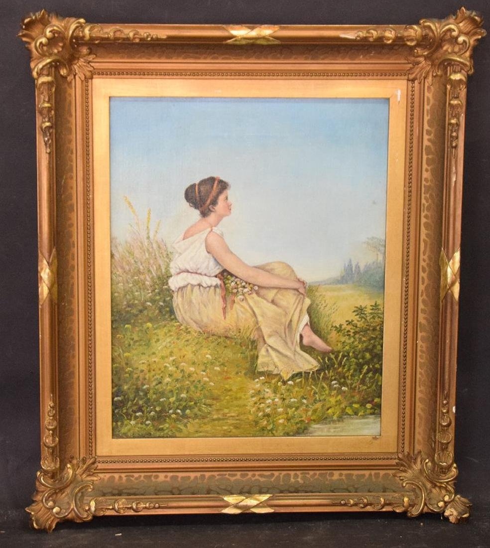 Early  20th c. oil on canvas of young lady seated and