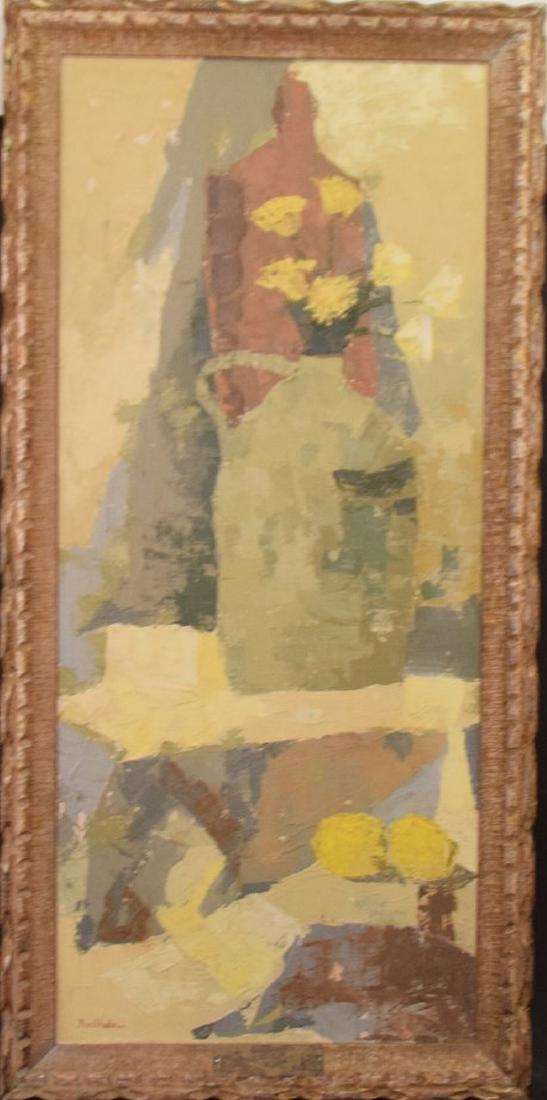 Buchholz, oil on canvas modern still life, 35 x 17