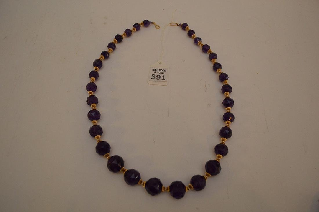 FACETED AMETHYST & 14K GOLD BEADED NECKLACE - Graduated