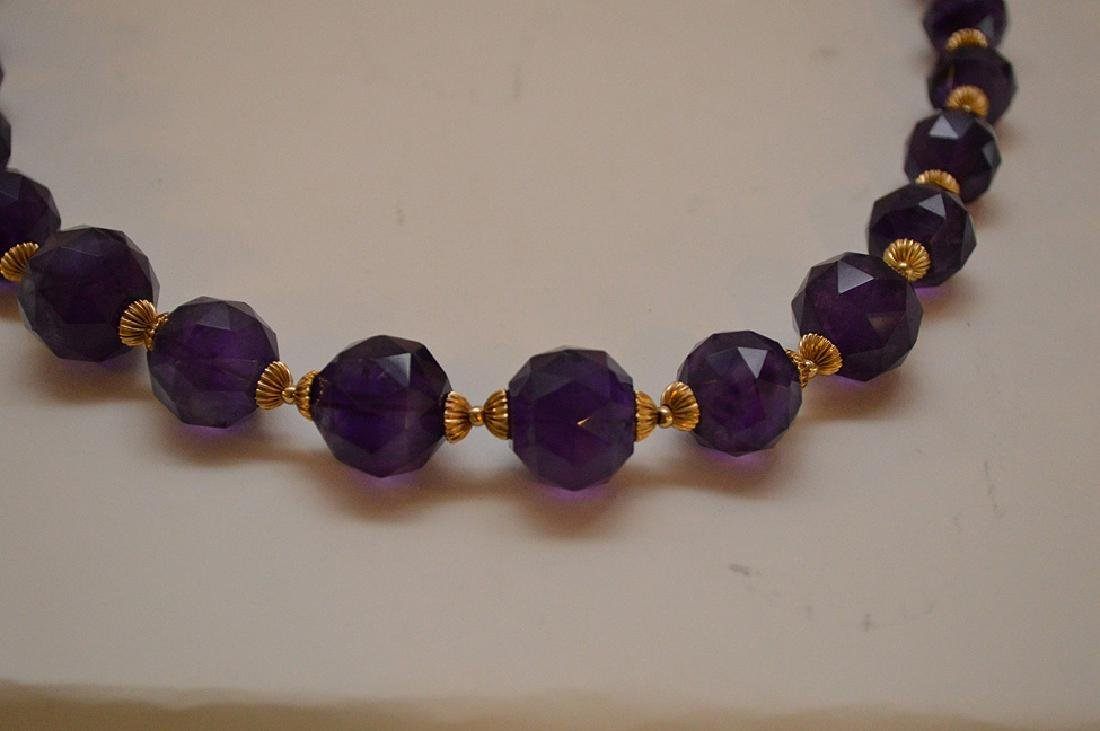 FACETED AMETHYST & 14K GOLD BEADED NECKLACE - Graduated - 2