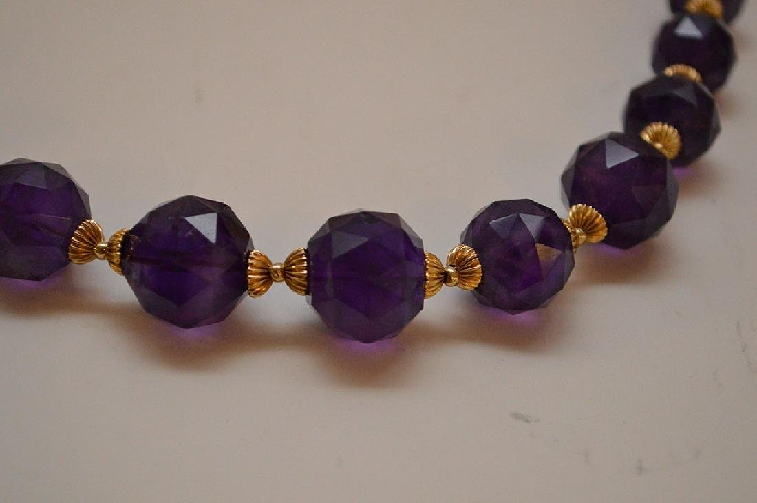 FACETED AMETHYST & 14K GOLD BEADED NECKLACE - Graduated - 3