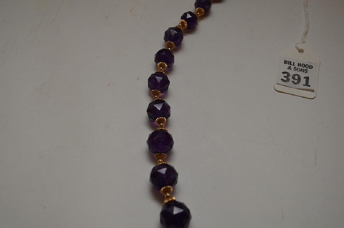 FACETED AMETHYST & 14K GOLD BEADED NECKLACE - Graduated - 4