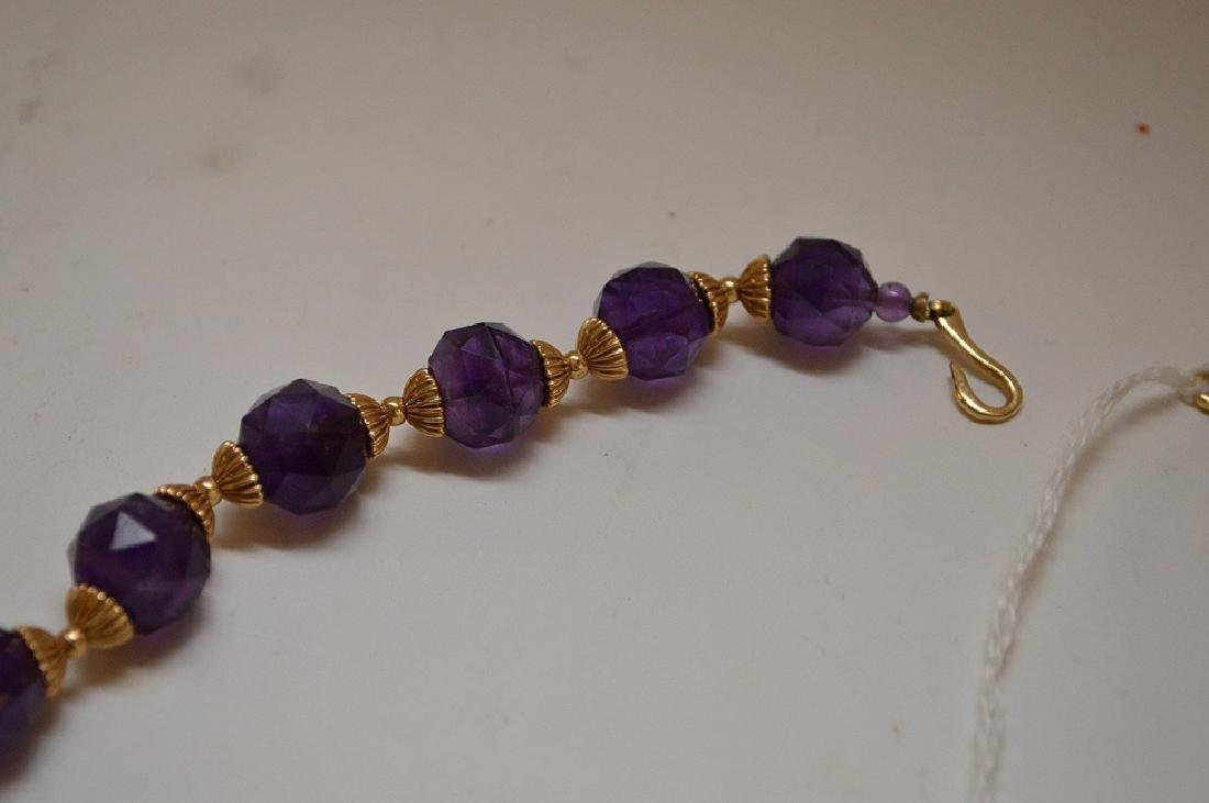 FACETED AMETHYST & 14K GOLD BEADED NECKLACE - Graduated - 5