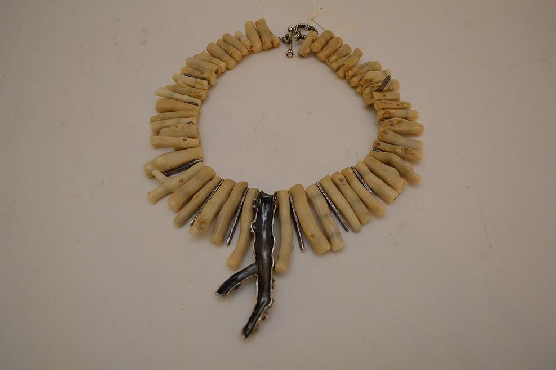 WHITE CORAL & SILVER NECKLACE - Artisan piece with - 7