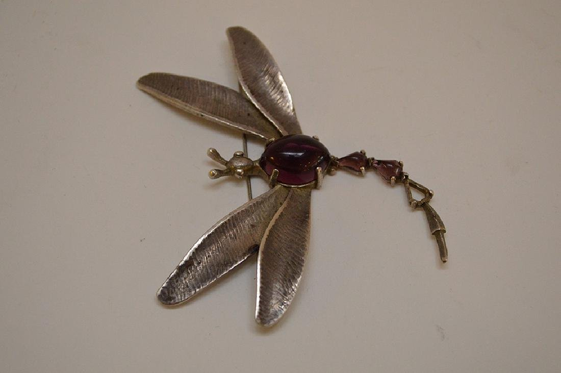 VINTAGE HOBE STERLING SILVER DRAGONFLY BROOCH - with - 2