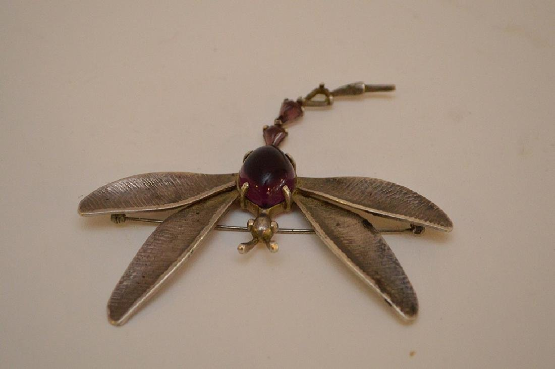 VINTAGE HOBE STERLING SILVER DRAGONFLY BROOCH - with - 3