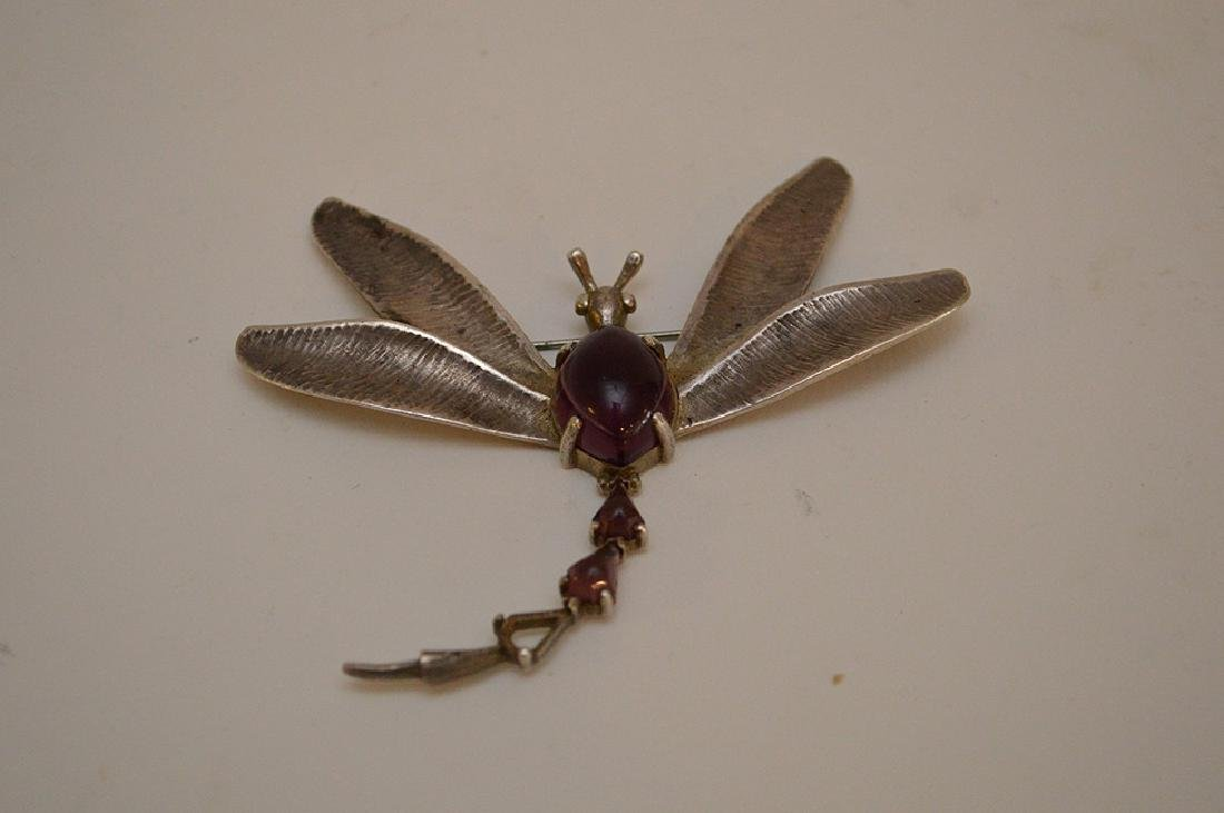 VINTAGE HOBE STERLING SILVER DRAGONFLY BROOCH - with - 4