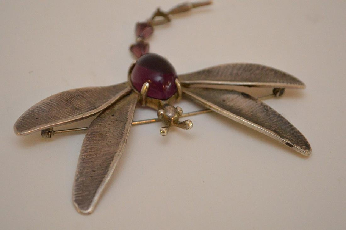 VINTAGE HOBE STERLING SILVER DRAGONFLY BROOCH - with - 5