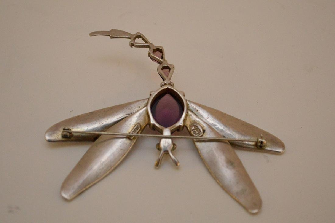 VINTAGE HOBE STERLING SILVER DRAGONFLY BROOCH - with - 6