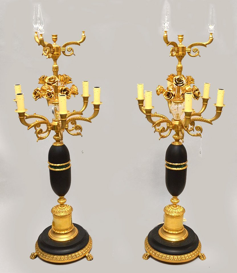 Pair French Gilt Bronze & Patinated Metal Candelabra