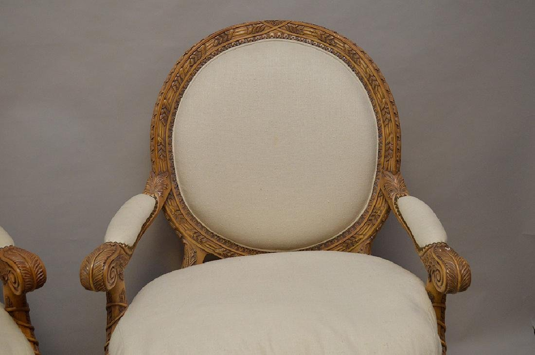 Pair carved & upholstered arm chairs - 2