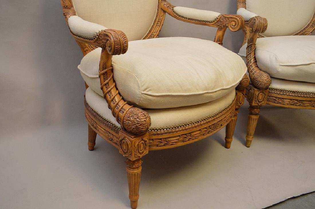 Pair carved & upholstered arm chairs - 3