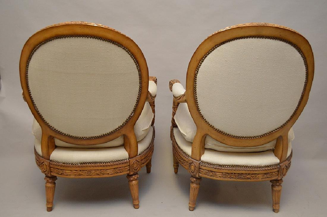 Pair carved & upholstered arm chairs - 4