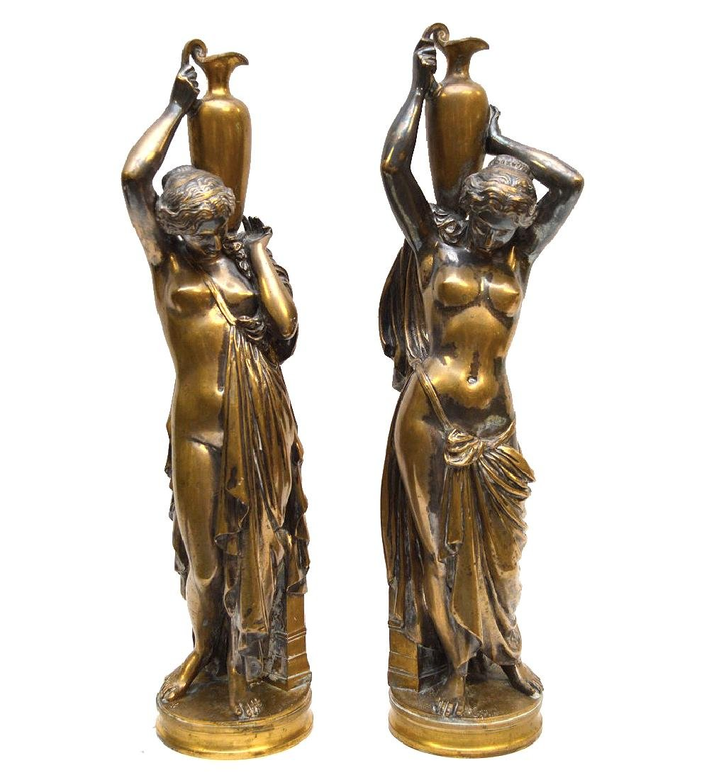 PAIR SILVERED BRONZE MAIDENS.  Condition: good with