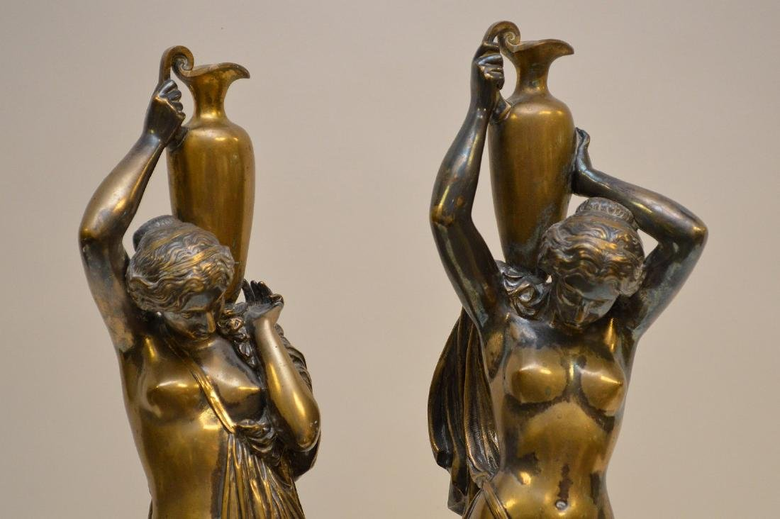 PAIR SILVERED BRONZE MAIDENS.  Condition: good with - 2