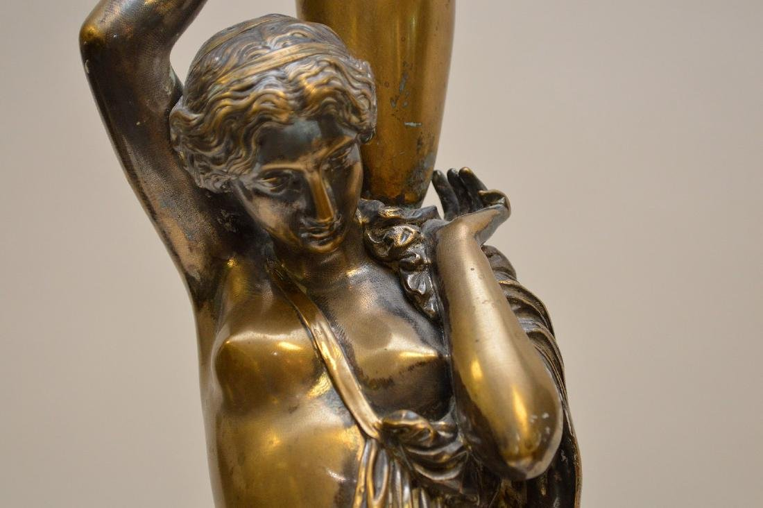 PAIR SILVERED BRONZE MAIDENS.  Condition: good with - 3
