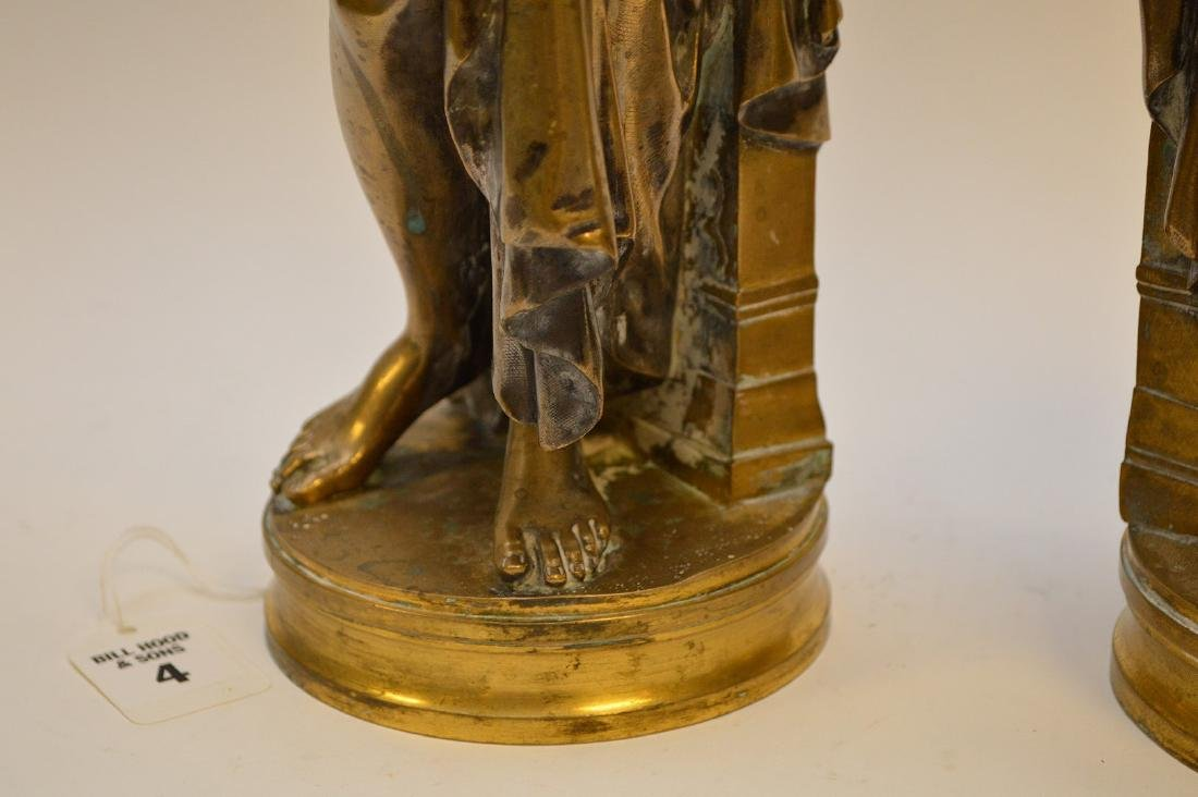 PAIR SILVERED BRONZE MAIDENS.  Condition: good with - 4