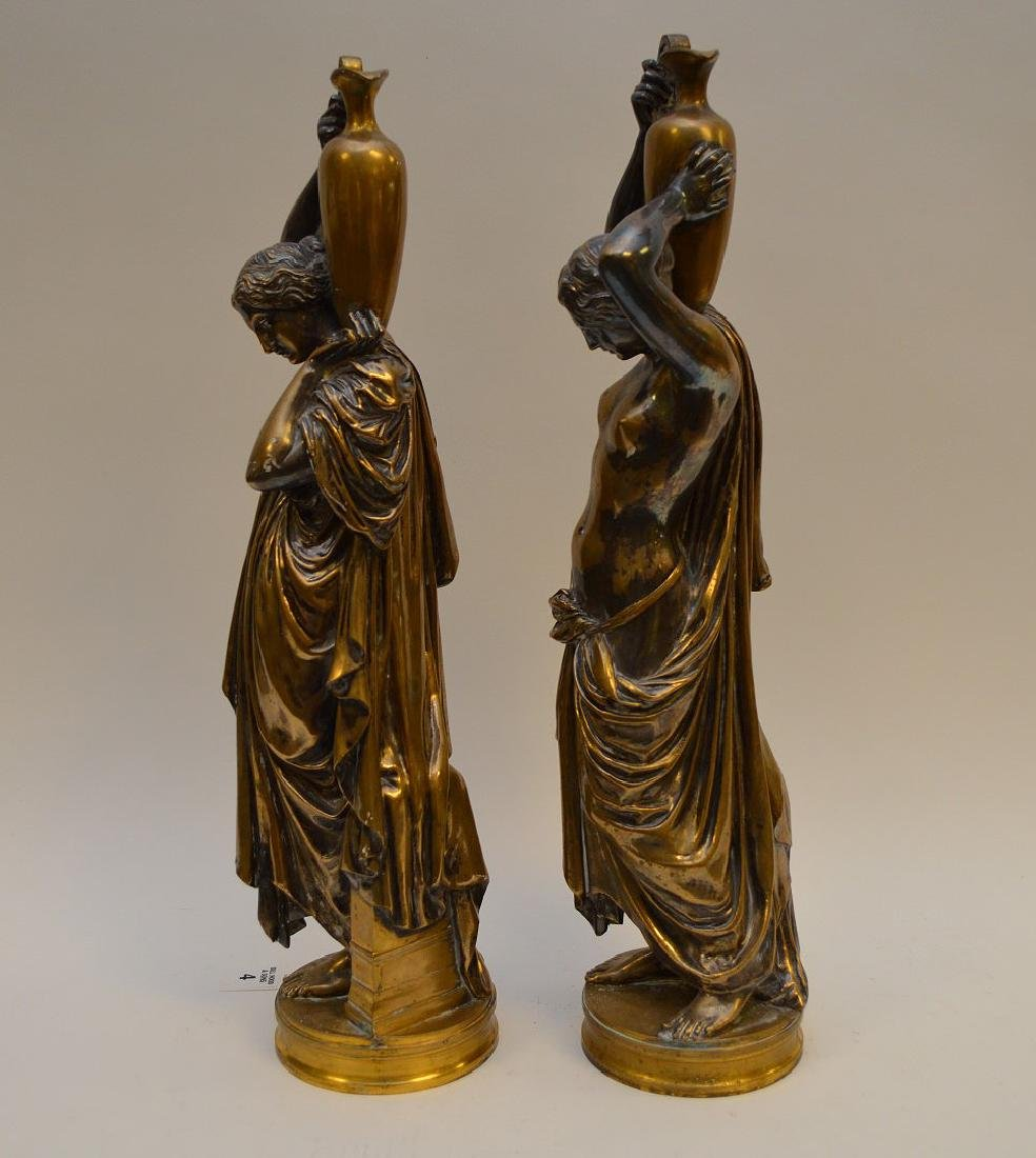 PAIR SILVERED BRONZE MAIDENS.  Condition: good with - 5