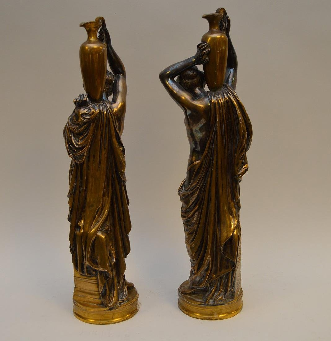 PAIR SILVERED BRONZE MAIDENS.  Condition: good with - 6