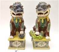 PAIR CHINESE PORCELAIN FOO DOGS. Each foo dog with