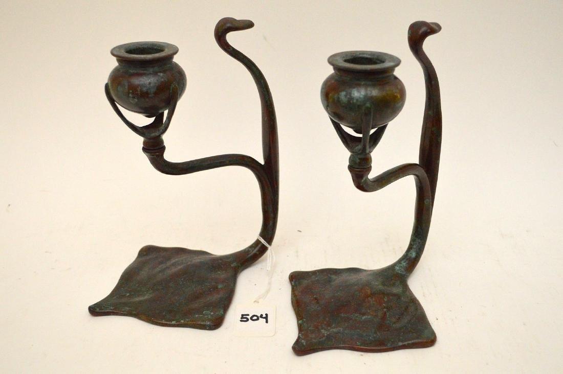 Pair Tiffany Studios Sting Ray Form Candlesticks  Each