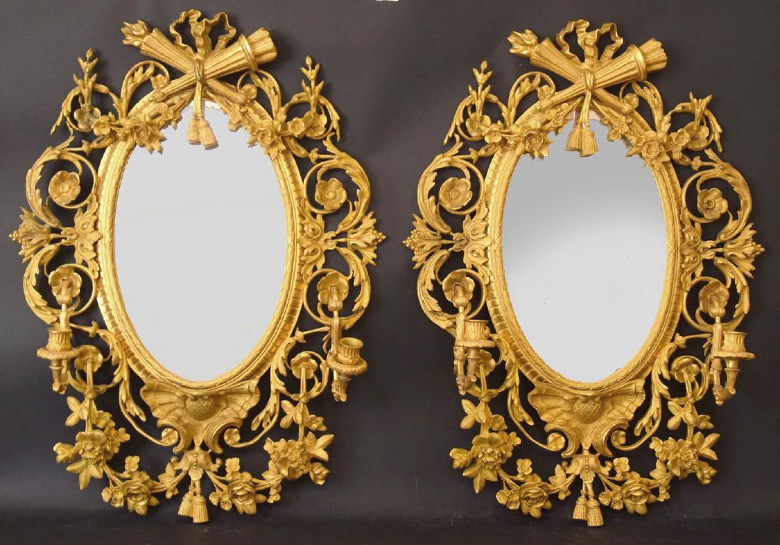 PAIR LOUIS XVI STYLE GILT BRONZE MIRRORS. French 19th