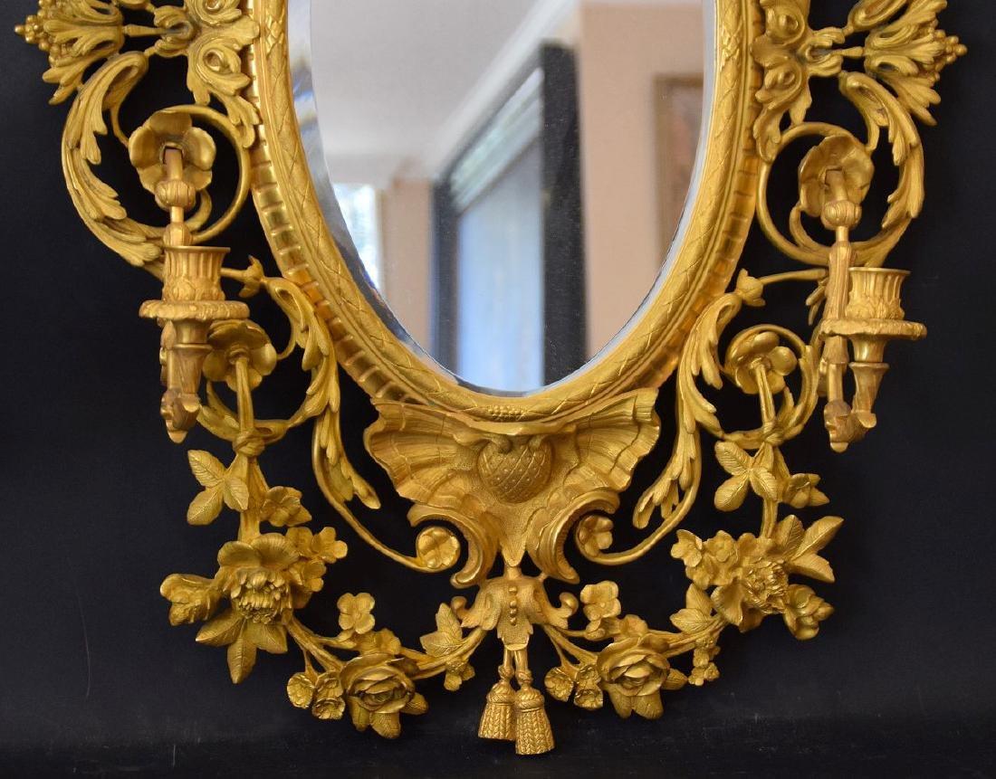 PAIR LOUIS XVI STYLE GILT BRONZE MIRRORS. French 19th - 3