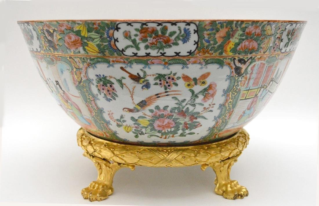 19th Century Chinese Rose Medallion Bowl with gilt