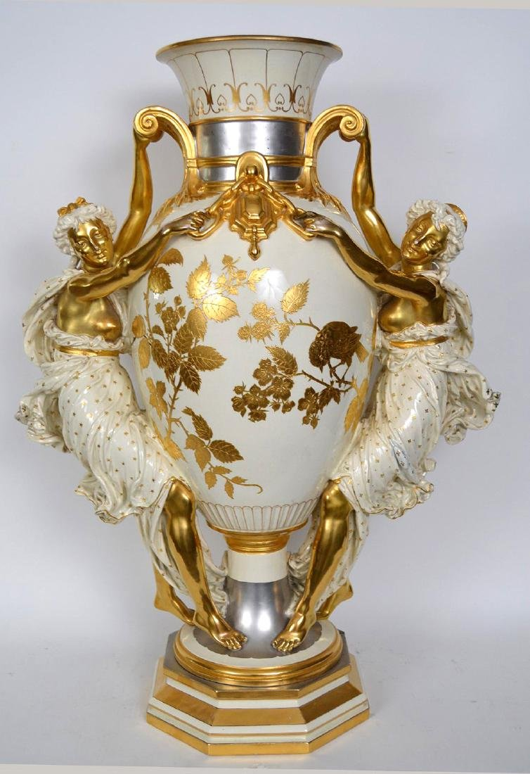 Monumental Choisy Le Roi Figural vase with platinum