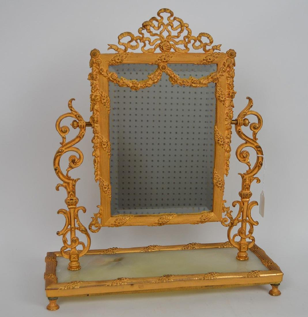 19th Century Gilt Bronze & Onyx Mirror Stand.
