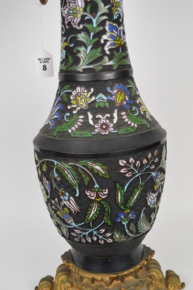 Antique Champleve vase with gilt bronze mounts, - 2