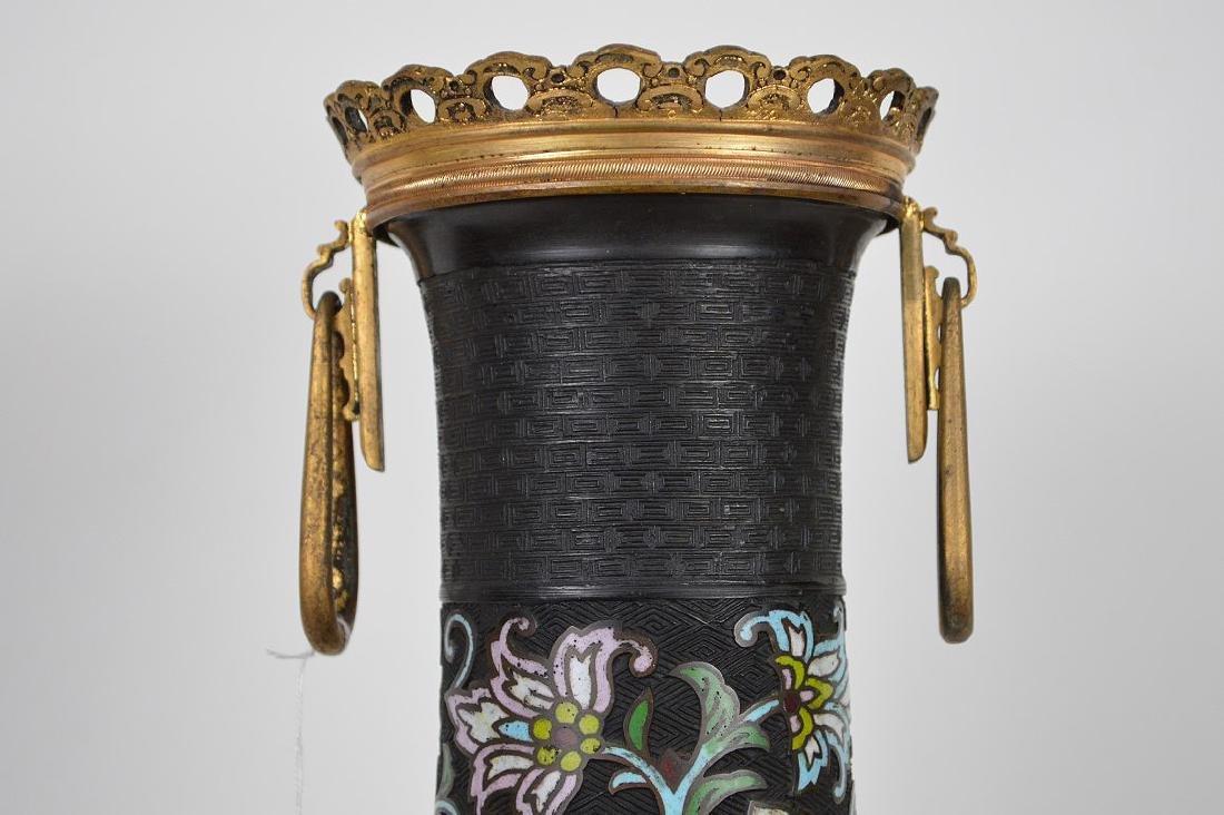 Antique Champleve vase with gilt bronze mounts, - 4