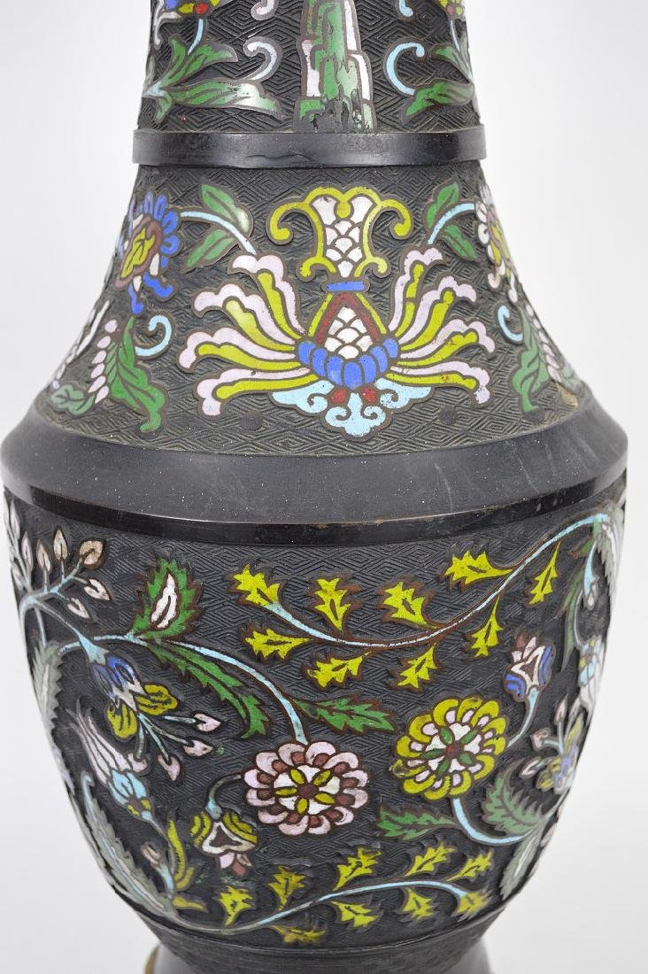 Antique Champleve vase with gilt bronze mounts, - 6