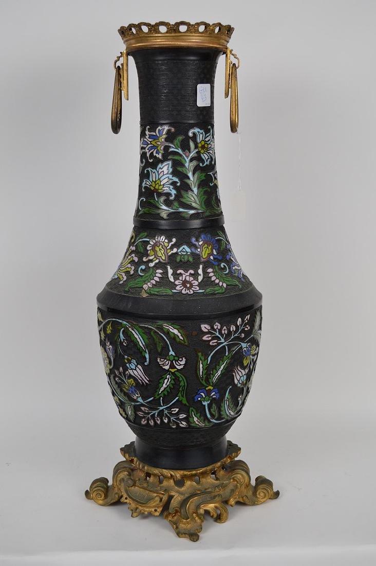 Antique Champleve vase with gilt bronze mounts, - 7