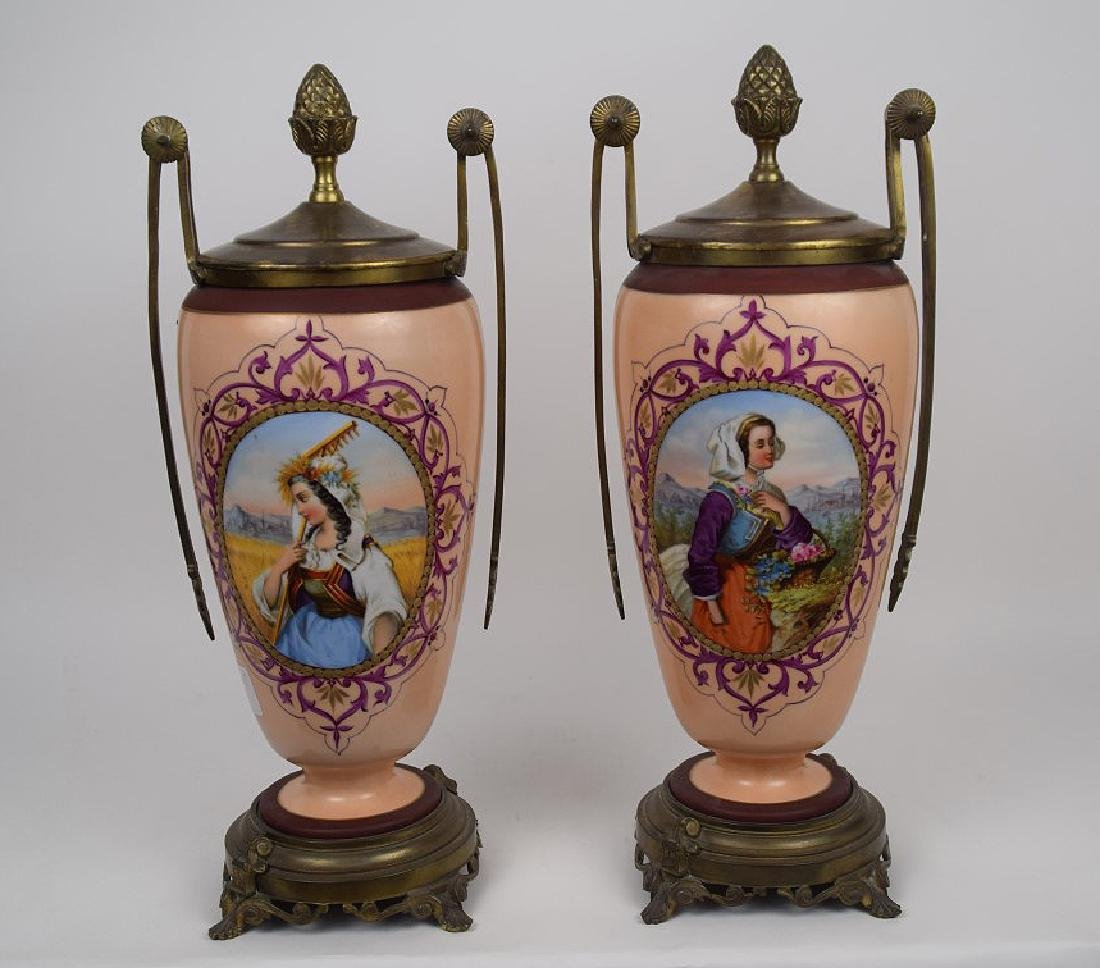 Pair Old Paris Porcelain Bronze Mounted Urns & Covers.