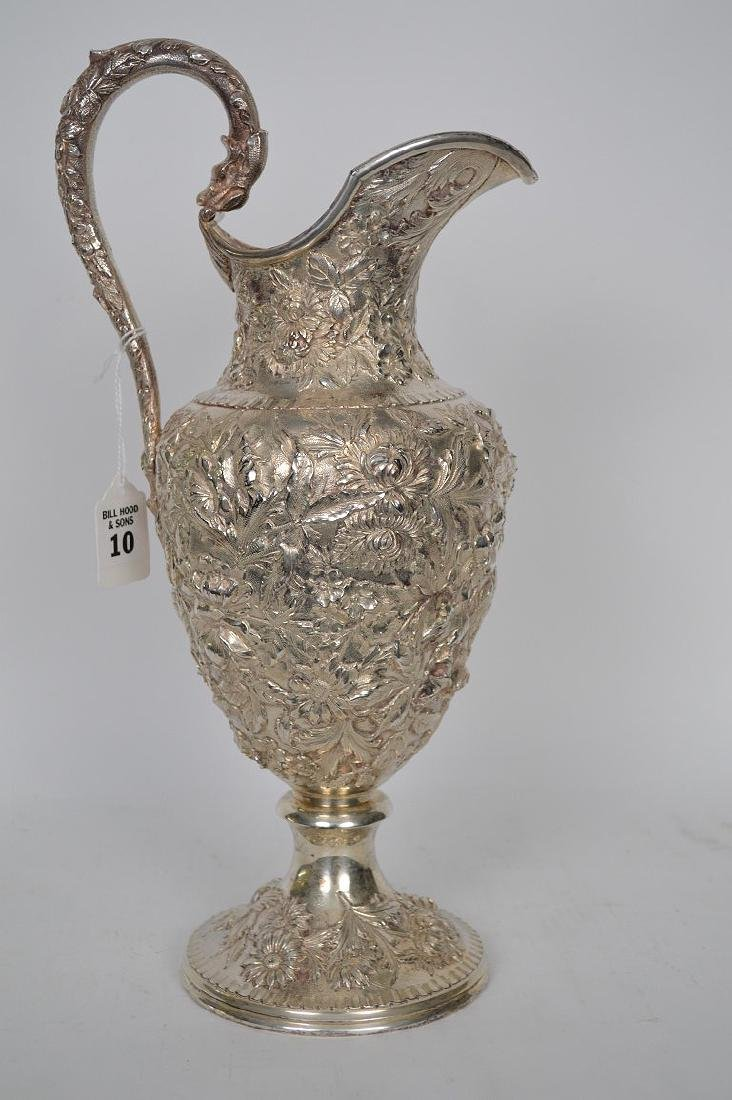 Large Kirk Sterling Repousse Pitcher, 36 ozt