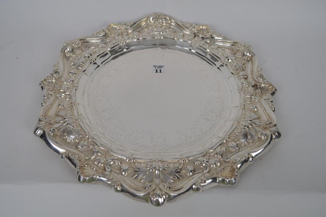 Large Sterling Tray with hand hammered shell, scroll